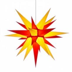 Adventsstjerne, papir, 60 cm, usamlet, rød & gul