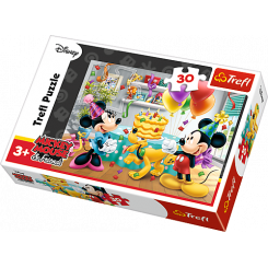 Puslespil Disney Mickey & fødselsdags kage, 30 brikker