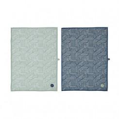 OYOY Paddy tea towel - dark blue/pale mint