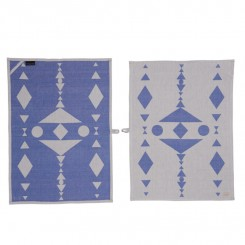 Hopi tea towel - blue / black