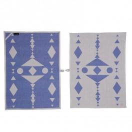 OYOY Hopi tea towel - blue / black