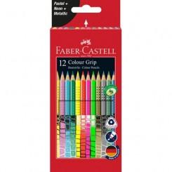 Faber Castell Grip Metallic, neon & pastel, 12 stk.