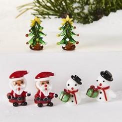 Glasfigurer, snemænd/ julemænd/ juletræer, 6 stk.