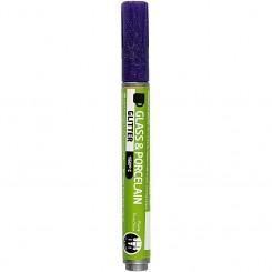 Glas- og porcelænstusch, stregtykkelse: 2-4 mm, violet, glitter - halvdækkende