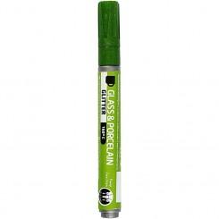 Glas- og porcelænstusch, stregtykkelse: 2-4 mm, lys grøn, glitter - halvdækkende