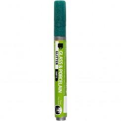Glas- og porcelænstusch, stregtykkelse: 2-4 mm, mørk grøn, glitter - halvdækkende