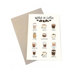 Mouse & Pen kort A6 - World of Coffee