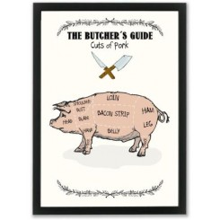 Mouse & Pen illustration A4 - The Butcher's Guide - Pork