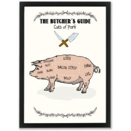 Mouse & Pen illustration A4 - The Butcher's Guide - Pork