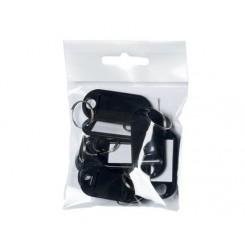 Nøgleringe, sorte - 10 stk.