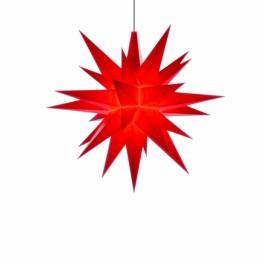 Adventsstjerne, plast, 13cm, samlet, rød