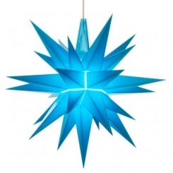Adventsstjerne plast, 13cm, samlet, blå (LED)