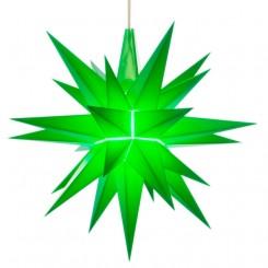 Adventsstjerne, plast, 13cm, samlet, grøn (LED)