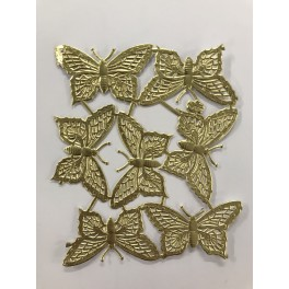 Glansbilleder sommerfugle guld