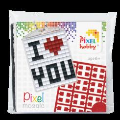 Pixel mosaic nøglering - I Love You