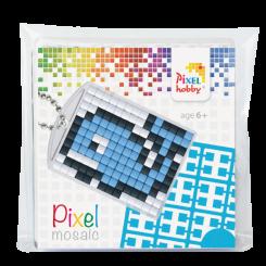 Pixel mosaic nøglering - Hval