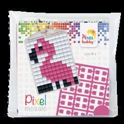 Pixel mosaic nøglering - Flamingo