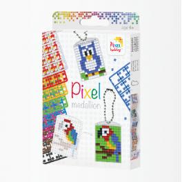 Pixel medallion nøglering sæt med 3 stk.