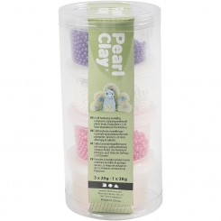 Pearl Clay®, hvid, lilla, pink, 3x25g, 1x38g.