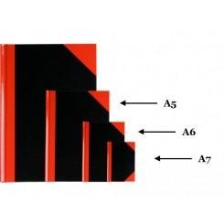 Kinabog A7 sort/rød, 80 sider linieret