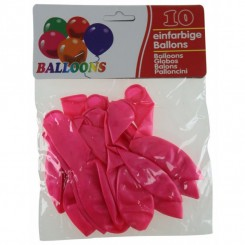 Latex balloner, metallic ensfarvede 10 stk., pink
