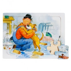 Puslespil mand og hund