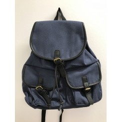 Mørkeblå canvas rygsæk