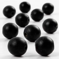 Træperler, 14 mm, sort