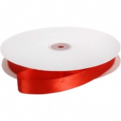 Satinbånd, B: 20 mm, rød, 1m