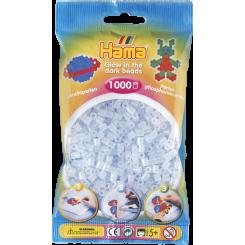 Hama MIDI perler, 1000 stk., blå selvlysende