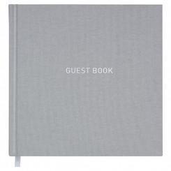 Gæstebog, grå tekstilpræg Guest Book