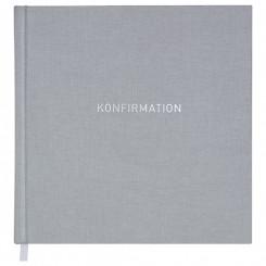 Gæstebog, grå tekstilpræg Konfirmation