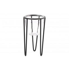 Sort metalstativ m. glas til lys/planter - lille
