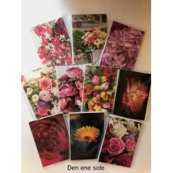 4 dobbeltkort m. kuvert - Blomster