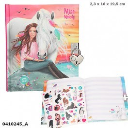 Miss Melody Dagbog m/lås, pige m/hest