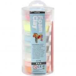 Foam Clay® , ass. farver, glitter, 6x14g