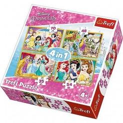 Puslespil 4 i 1, Disney Prinsesser, 35, 48, 54, 70 brikker