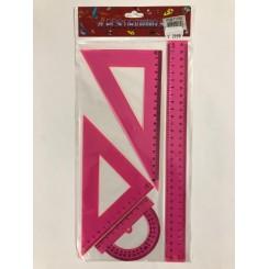 Sæt med 4 linealer - pink