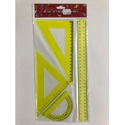 Sæt med 4 linealer - neongul