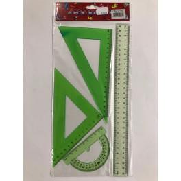 Sæt med 4 linealer - neongrøn