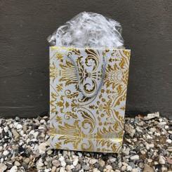 Gavepose, grå m. guldmønster
