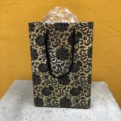 Gavepose, guld m. sort mønster