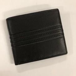 Læderpung, sort m. mønster