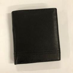 Læderpung, sort m. stikning