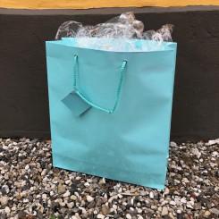 Gavepose, stor, lyseblå