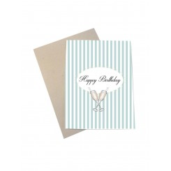 Mouse & Pen kort A6 - Happy Birthday (stribet)