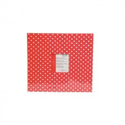 Scrapbog rød med hvide prikker