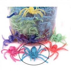 Edderkop, gummi 8 cm - blå