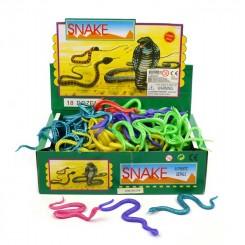 Slange, gummi 23 cm - pink