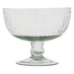 Glas skål på fod m. slibning